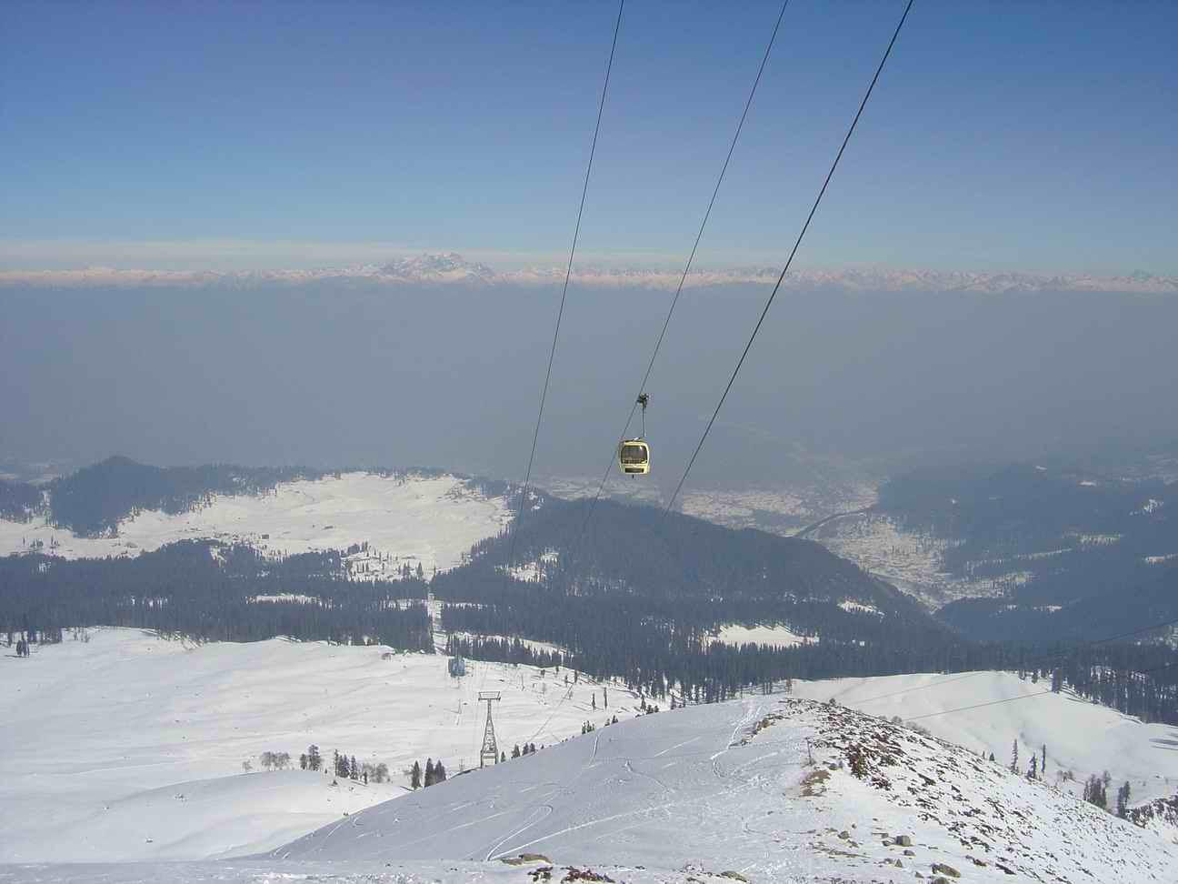 a gondola in snow covered Gulmarg