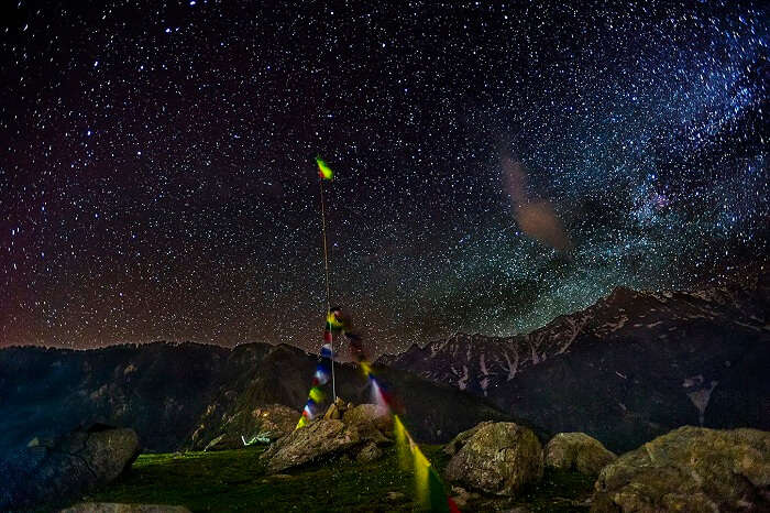A view of the star-studded night sky as seen on the Triund Trek