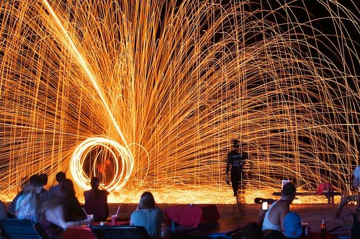 A live Fire performance on the famous Chaweng Beach