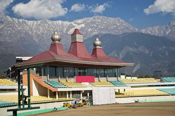 The grand HPCA cricket stadium in Dharamshala