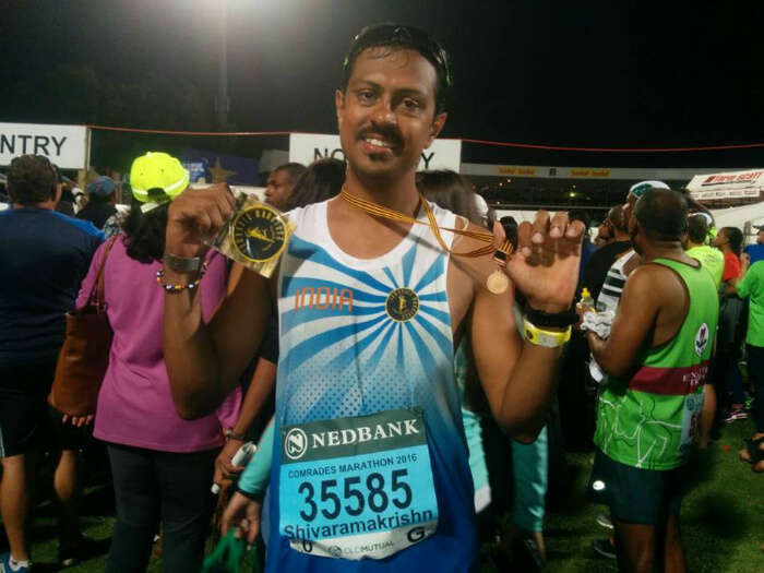 Shivaramakrishnan victorious after finishing the marathon