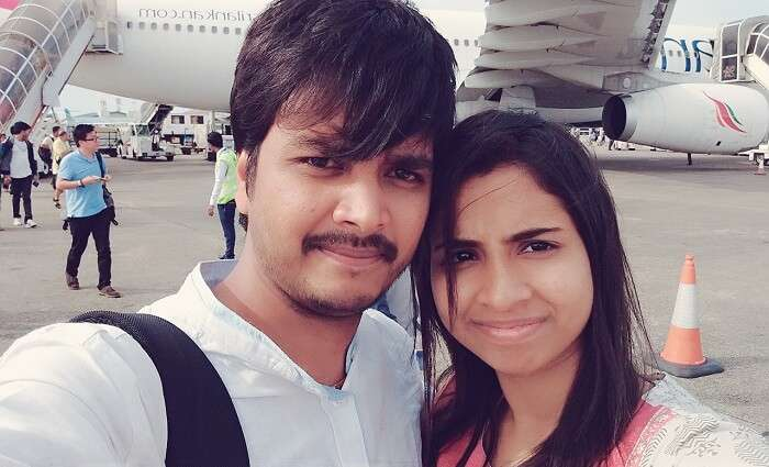 Badri and his wife at the Maldives airport