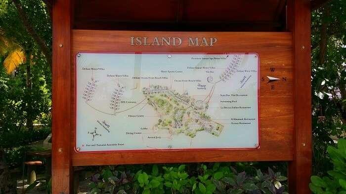 Island map of Centara Ras Fushi in Maldives