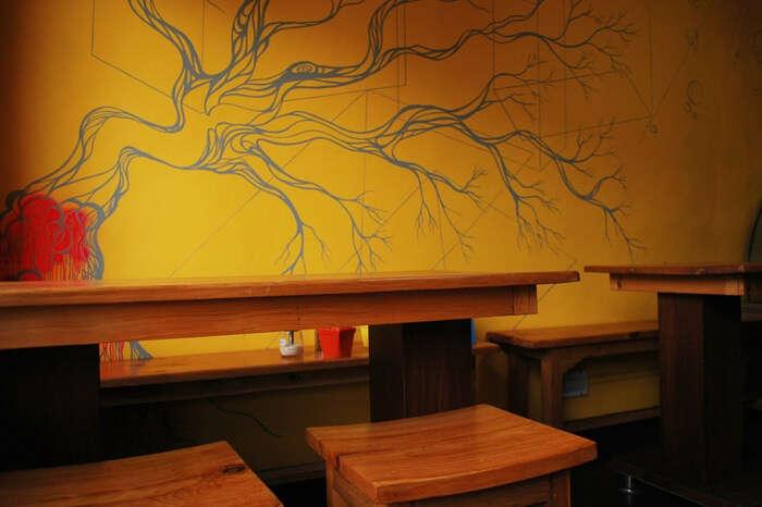 Interiors of Wake & Bake cafe in Shimla