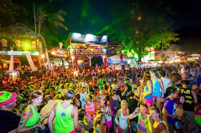 A view from the famous Full Moon Party at Koh Phangan
