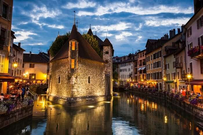 The little town of Annecy is snuggled between two rivers in France