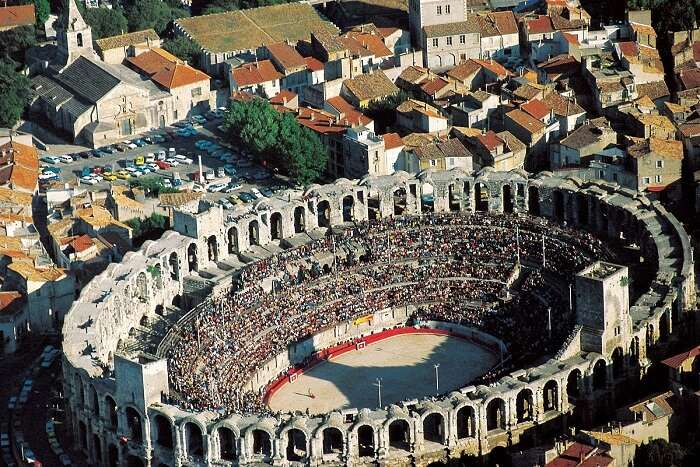 A top view of arena at Arles - one of the most popular places to see in France