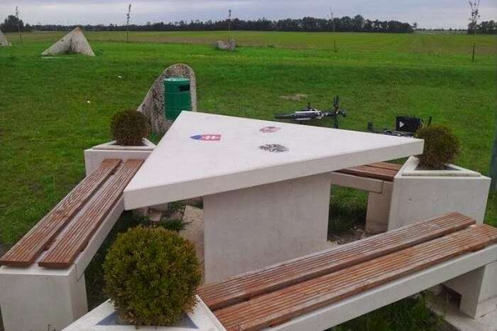A triangular table at the border of Austria-Hungary-Slovakia