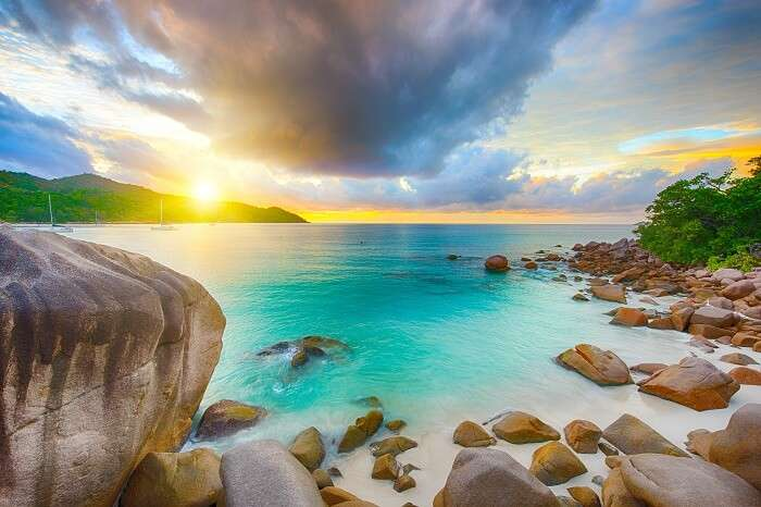 Beautiful sunset over the famous beach Anse Lazio in Praslin island