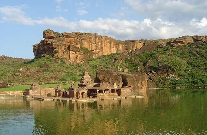 The Bhootnath Temple erected in the middle of green lake at Badami in Karnataka