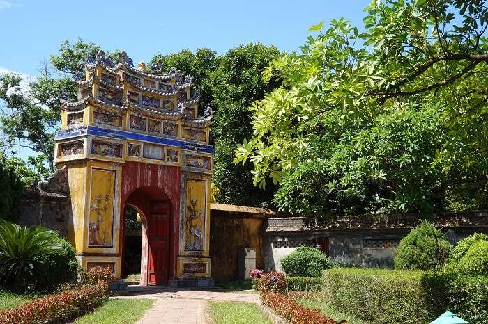 One of the gates at the Complex of Hue Monuments in Hue