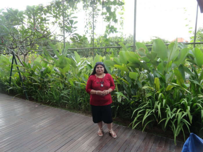 Mr. Satish's wife at the Resort in Bali