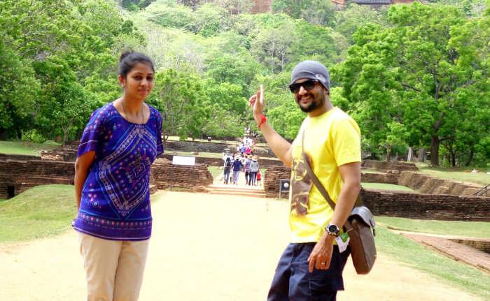 Priyanka and her husband in Sigiriya