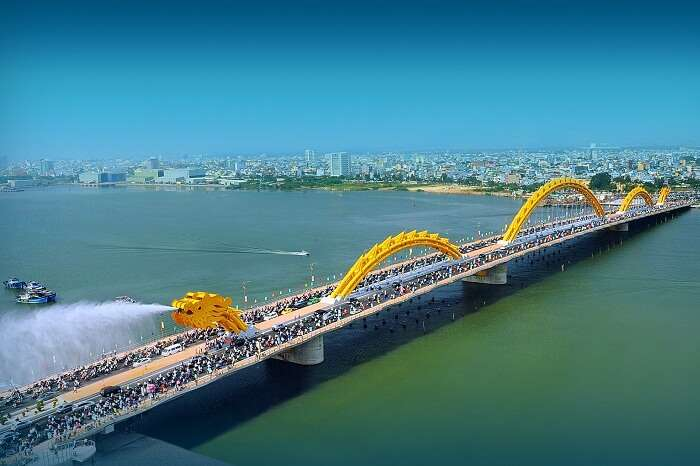 The famous Dragon Bridge at Danang in Vietnam