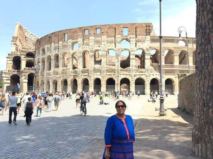 Outside the historical Colosseum