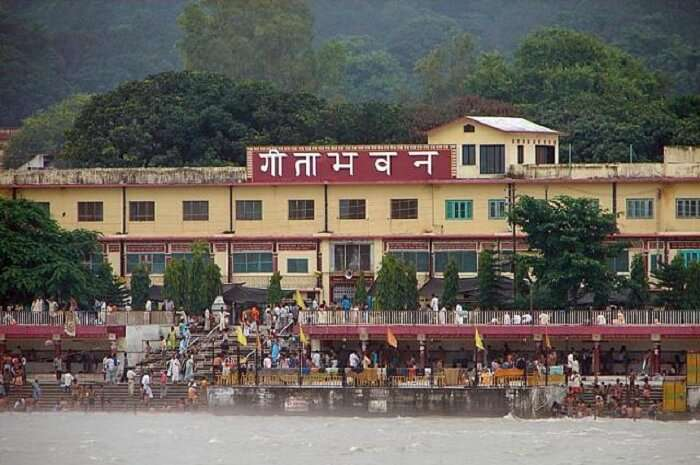 People gather to read the Ramayana at the Geeta Bhawan in Rishikesh.