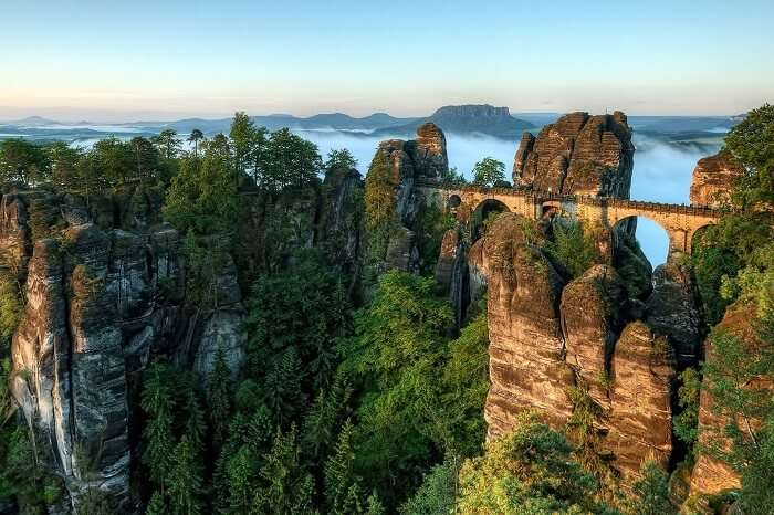 The Bastei Bridge at the border of Germany and Czech Republic