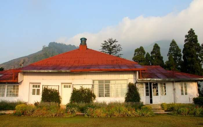 Dusk time as seen at Goomtee Resort one of the best tea estate resorts in Darjeeling