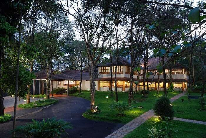 The beautiful facade of Greenwood Resort - one of the best resorts in Thekkady