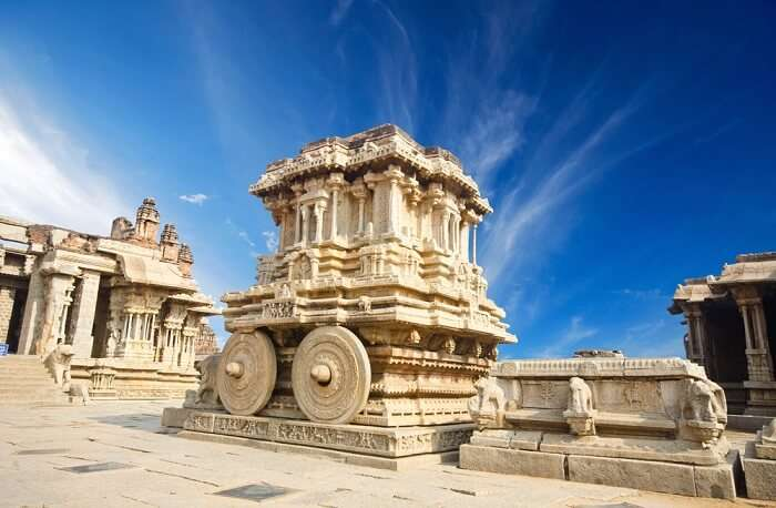 Stone structures at Hampi - one of the best places to visit in Karnataka for architecture lovers