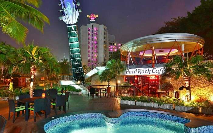 Front view of Hard Rock Hotel is one of the finest luxury hotels in Pattaya