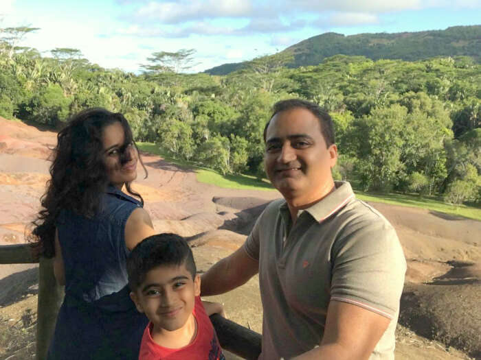 Raj Kumar and his family at the Trou aux Cerfs in Mauritius
