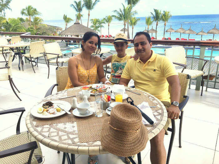 Raj Kumar and his family at the LE Meridian Hotel in Mauritius