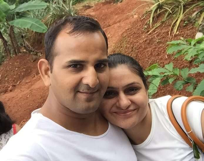 Ravi and his wife click a selfie at the herb plantation in Munnar