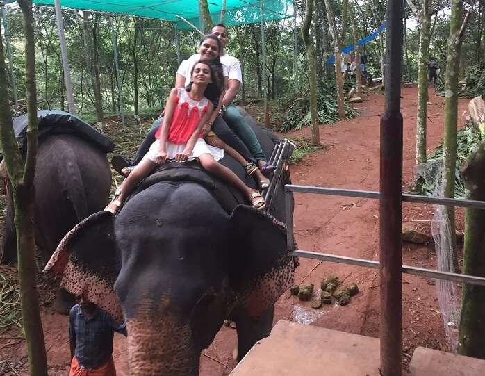 Ravi and the kids do the elephant ride