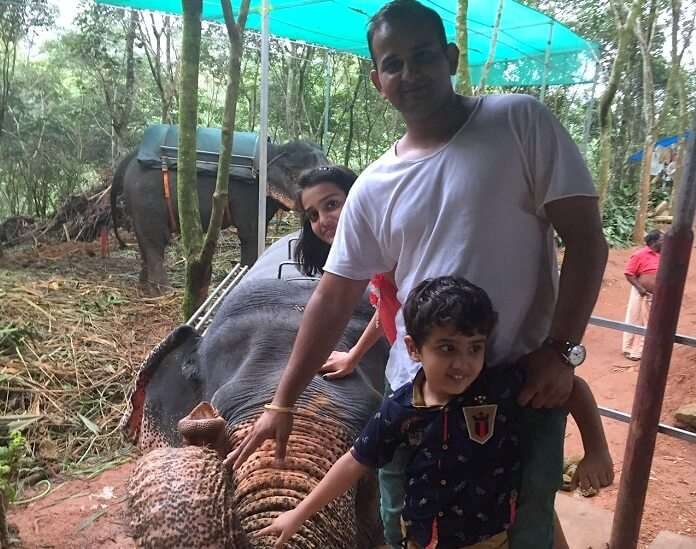 Ravi and the kids doing the elephant ride