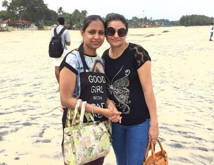 Ravi and his family at a Kerala beach