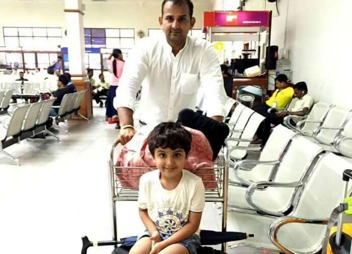 Ravi and his son at the Cochin airport