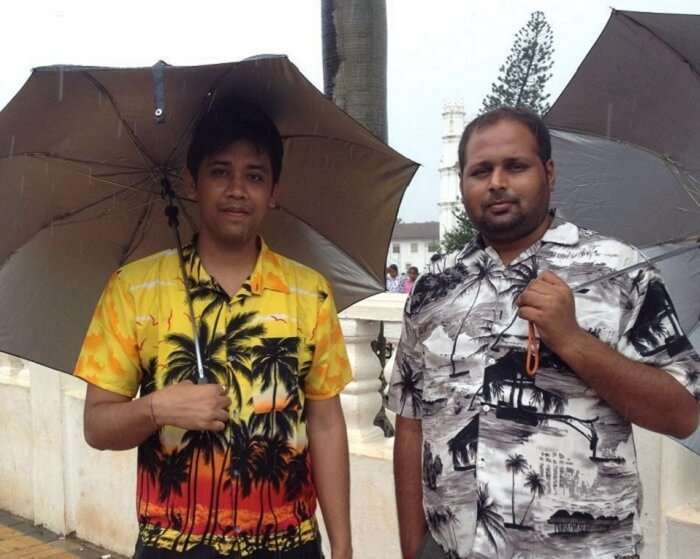 Chetan and his friend at the resort in Goa