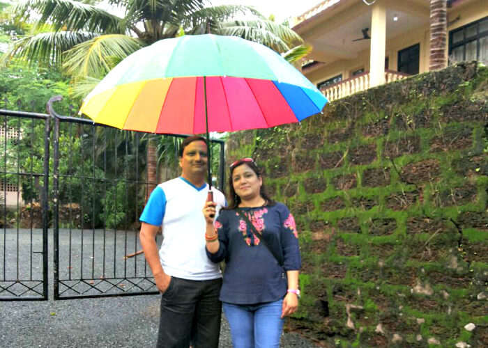 Rajiv and his family enjoying the rainy day