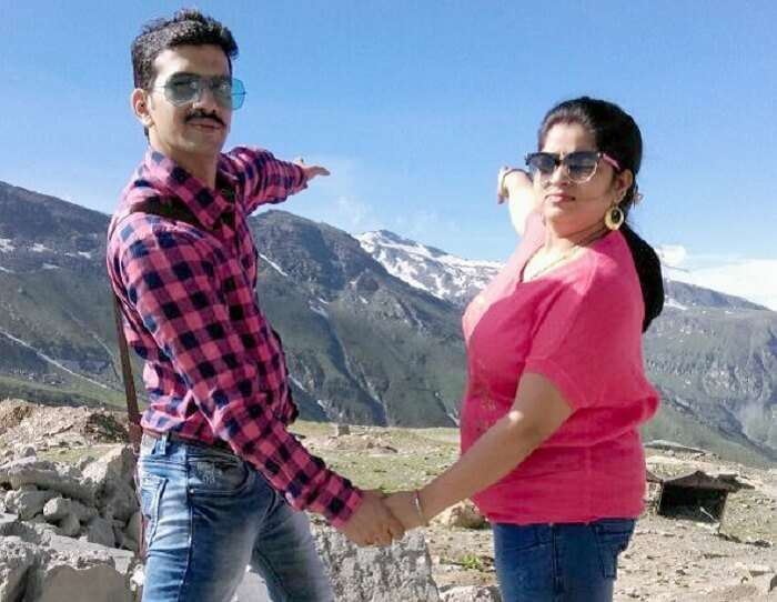 Sachin and his wife in Solang Valley