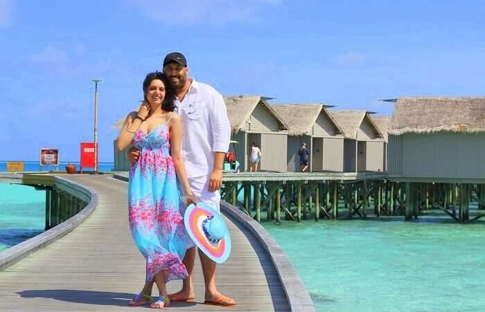 Angad and his wife in Maldives