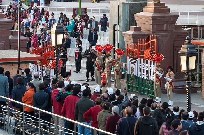 The retreating parade at the Wagah border between India and Pakistan