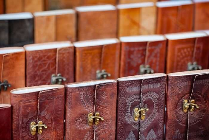 Leather journals at a shop on Jagdish Temple Street - One of the best spots to enjoy street shopping in Udaipur