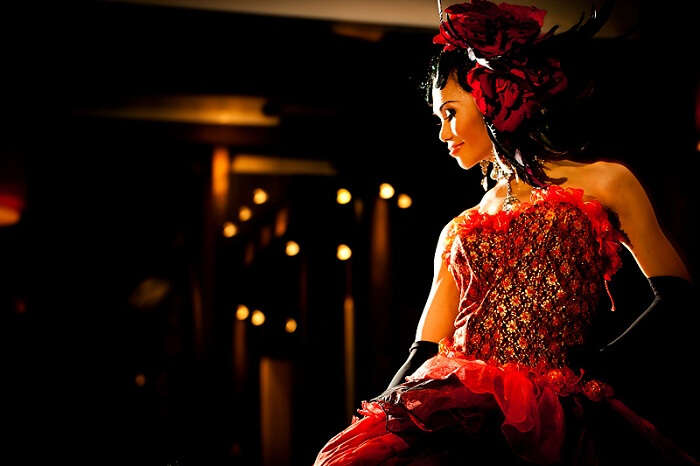 A ladyboy in glittering clothes at one of the prominent Cabarets of Koh Samui