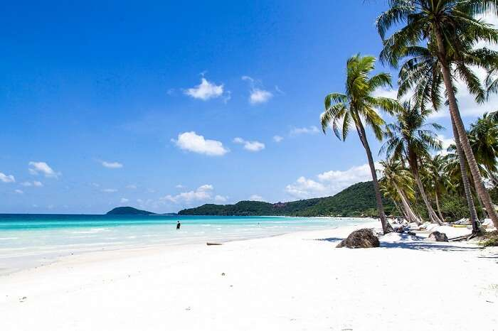 The white sand honeymoon beach at Phu Quoc in Vietnam