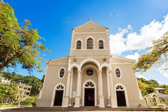 The entrance to the Cathedral of Immaculate Conception in Seychelles