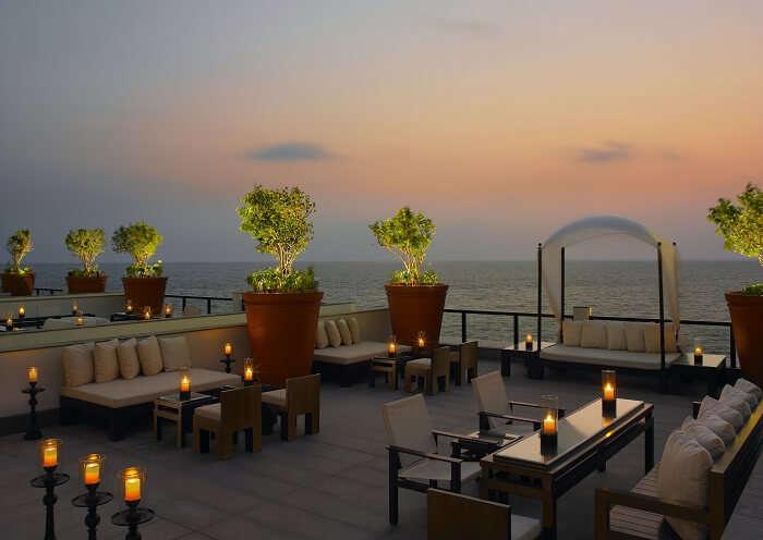 Mesmerizingly warm terrace of the Leela - the best resort in Kovalam