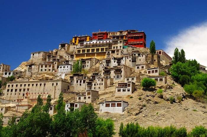 A distant snap of the Thiksey Monastery in Ladakh