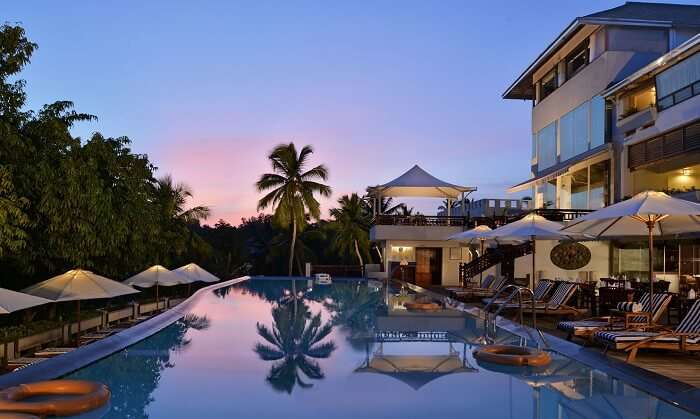 Pool area of Turtle on the Beach Resort - One of the best resorts in Kovalam