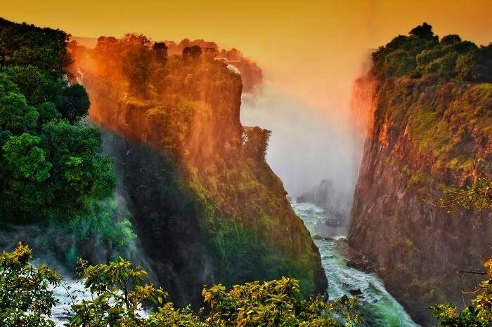 Early morning lights at the Victoria Falls at the border of Zimbabwe and Zambia