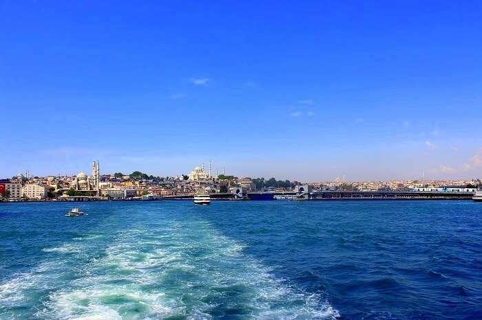 Jasmeet and her husband on the Bosphorus cruise in Turkey