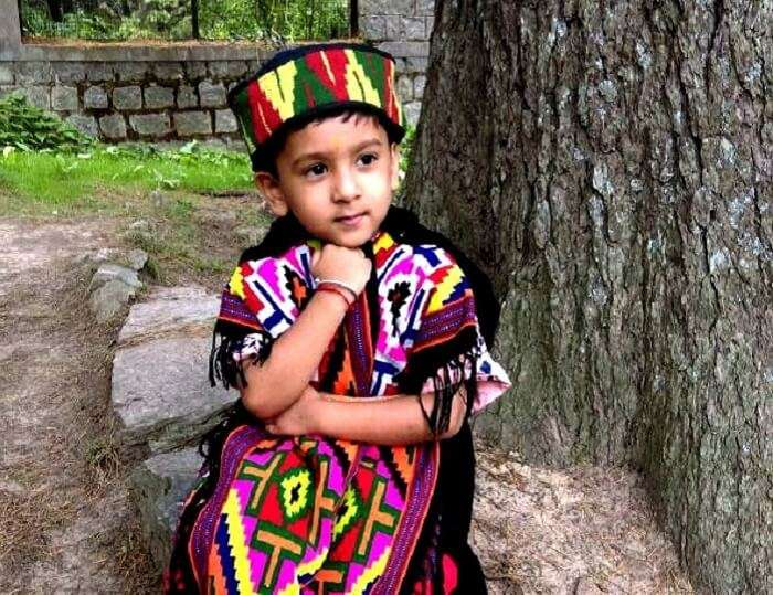 Sachins son in a traditional Manali dress
