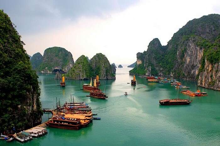 Numerous boats docked at the Halong Bay