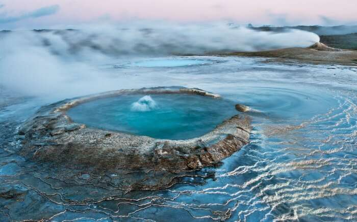 Geyserite precipitate from hot spring water as it cools.