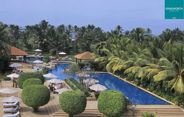 An aerial view of the swimming pool and the poolside seating at the Kenilworth Resort and Spa